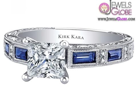Kirk-Kara-Charlotte-18kt-White-Gold-Blue-Sapphire-Engagement-Ring Top 21 Blue Sapphire Engagement Rings Designs
