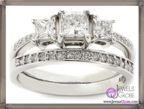 Kobelli-Three-Stone-Princess-Diamond-Wedding-Set-Rings Kobelli Jewelry and its Best STYLISH 31 Designs