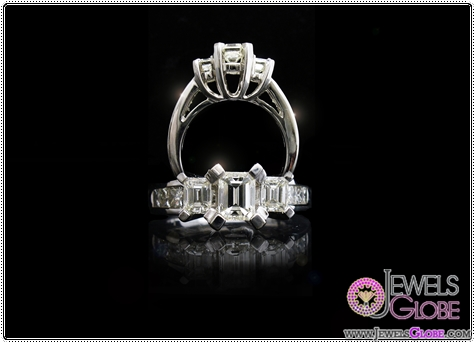 Ladies-14kt-white-gold-Three-stone-diamond-ring-with-3-emerald-cut-diamonds 3 Stone White Gold Engagement Rings for Women