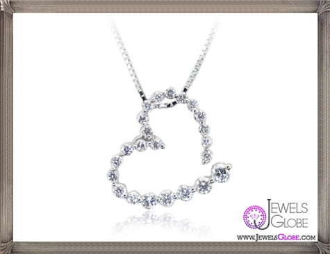 Ladies-Diamond-Heart-Necklace-14K-White-Gold The 28 Best Diamond Heart Necklaces & Pendants For Women and Buying TIPS