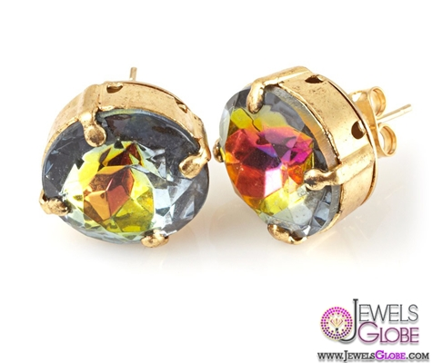 Large-Rainbow-Colored-Glass-Gem-Stud-Earrings The 43 Hottest Gemstone Drop And Stud Earrings Designs for Women