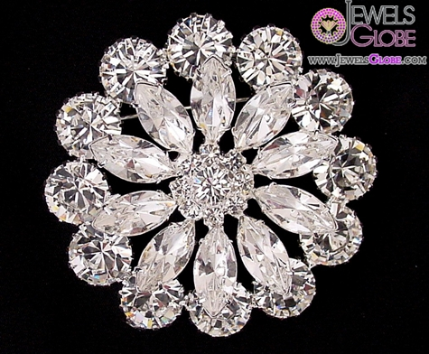 Large-crystal-rhinestone-flower-brooch The 11 Best Designs of Rhinestone Brooches for Women