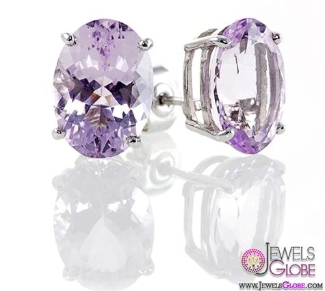 Lilac-Oval-Amethyst-Gemstone-Stud-Earrings The 43 Hottest Gemstone Drop And Stud Earrings Designs for Women
