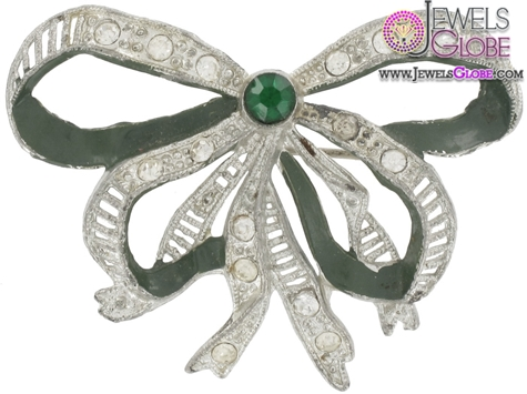 Little-Nemo-Rhinestone-Green-Bow-Pin-Brooch The 11 Best Designs of Rhinestone Brooches for Women