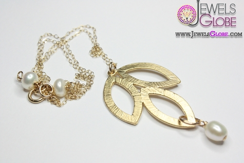 Matte-Gold-Leaf-Pearl-Necklace-Women-Design Top 20 Pearl Gold Necklace Designs