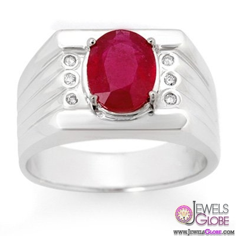Mens-3.06ctw-Diamond-Ruby-Ring-in-Solid-White-Gold Most Stylish Men's Ruby Rings Designs