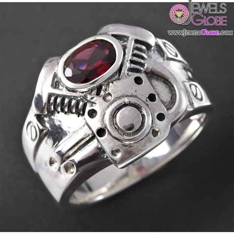 Mens-Wildthings-V-Twin-Sterling-Silver-Ring-with-Garnet-Gem 19 Awesome Mens Sterling Silver Rings