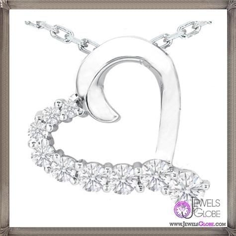 Nine-Diamond-Heart-Pendant-in-14-Karat-White-Gold The 28 Best Diamond Heart Necklaces & Pendants For Women and Buying TIPS