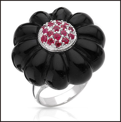 Onyx-and-Rubies-Sterling-silver-Ring Hottest Sterling Silver Rings For Women