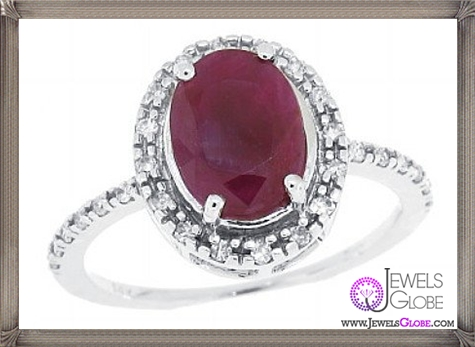 Oval-Genuine-Ruby-Ring-with-Diamonds-in-10Kt-White-Gold 32+ Most Elegant Genuine Ruby Rings For Women