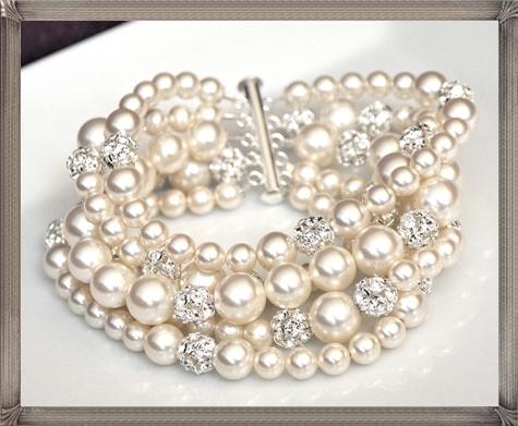 Pearl-Cuff-Bracelet-Chunky-Wedding-Bracelet-Rhinestone-Pearl-Bracelet 28+ Most Amazing Pearl Bracelets For Brides in 2020