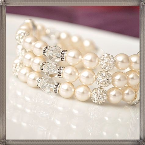 Pearl-Rhinestone-Cuff-Bracelet-Bridal-Cuff-Bracelet 28+ Most Amazing Pearl Bracelets For Brides in 2020