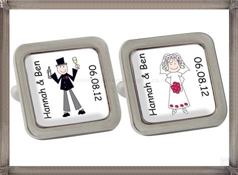 Personalised-Cartoon-Wedding-Couple-Cufflinks personalised cufflinks for men
