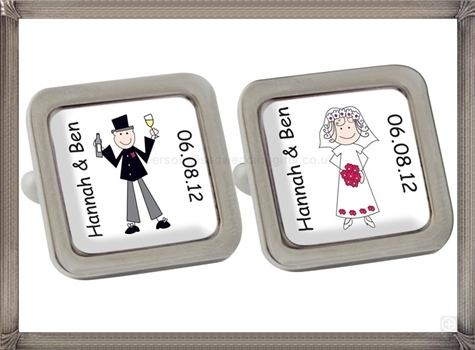 Personalised-Cartoon-Wedding-Couple-Cufflinks personalised cufflinks for men