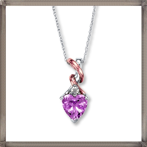 Pink-Amethyst-Necklace-With-Diamond-Accent-10K-White-Gold How to Choose and Buy Most STYLISH Pink Diamond Necklace Designs