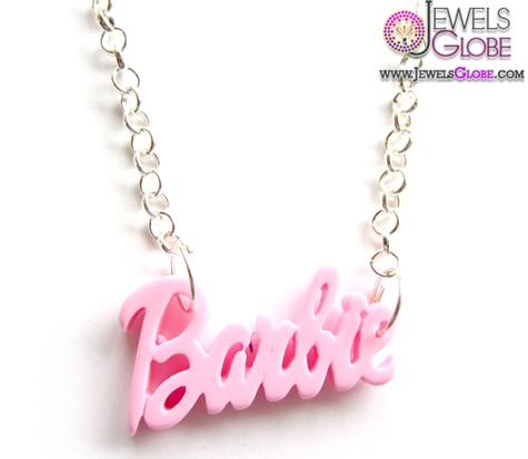 Pink-Barbie-Baby-Name-Necklace 33 Amazing Designs Of Baby Necklaces
