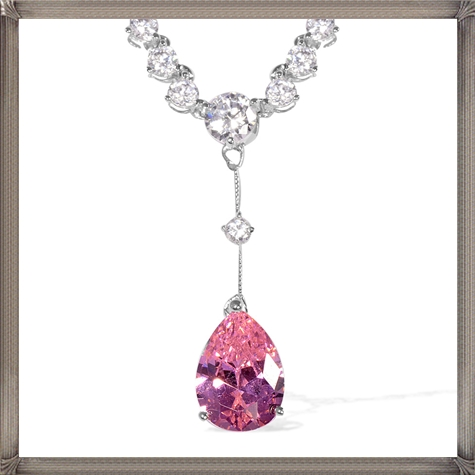 Pink-Diamond-Pear-6.95-Ct-Simulated-Diamond-Necklace How to Choose and Buy Most STYLISH Pink Diamond Necklace Designs