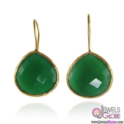 Precious-Green-Gemstone-drop-earrings-on-almond-shape The 43 Hottest Gemstone Drop And Stud Earrings Designs for Women