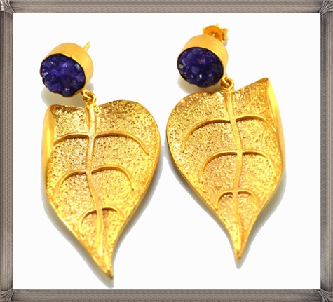 Purple-Druzy-Statement-Earrings Latest Gold Earrings Designs 2019
