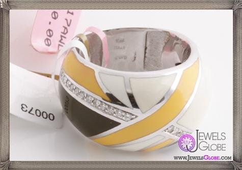 ROBERTO-COIN-18K-White-Gold-Diamond-Enamel-Ring 23 Best Roberto Coin Rings Designs