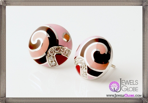 ROBERTO-COIN-Diamond-Colored-Enamel-Round-Earrings Best 18 Roberto Coin Earrings Designs