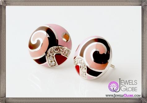 ROBERTO-COIN-Diamond-Colored-Enamel-Round-Earrings Best 18 Roberto Coin Earrings Designs