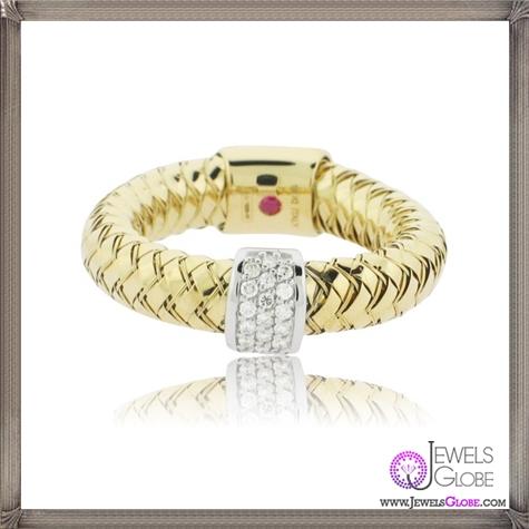 Roberto-Coin-18K-Two-Tone-Primavera-Mini-Pave-Ball-Ring 23 Best Roberto Coin Rings Designs