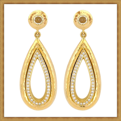 Rose-Cut-Diamond-Double-Teardrop-Gold-Earrings Best Ways to Choose Most Stylish Earrings