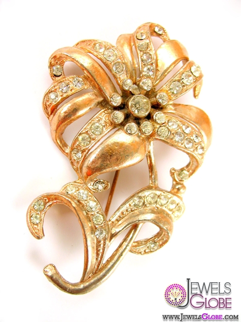 Rose-Gold-Tone-Rhinestones-Large-Flower-Brooch Top 14 Antique Gold Brooches for Women