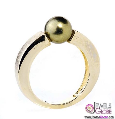 Round-Cut-Bright-Pearl-Ring-in-Gold-and-Olive-Sale Top Pearl Rings For Sale