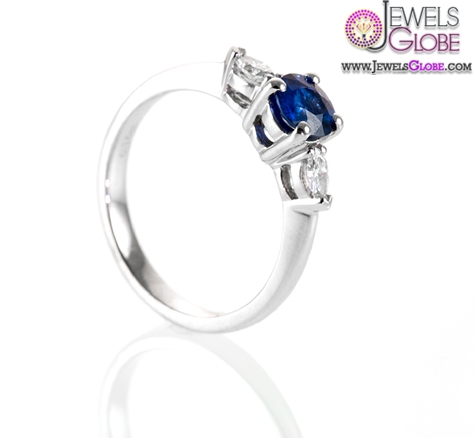 Royal-Dark-Blue-Sapphire-and-Marquise-Diamond-Engagement-Ring Top 21 Blue Sapphire Engagement Rings Designs