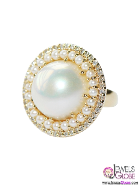 Royale-Ring-Round-White-Pearl Top Pearl Rings For Sale