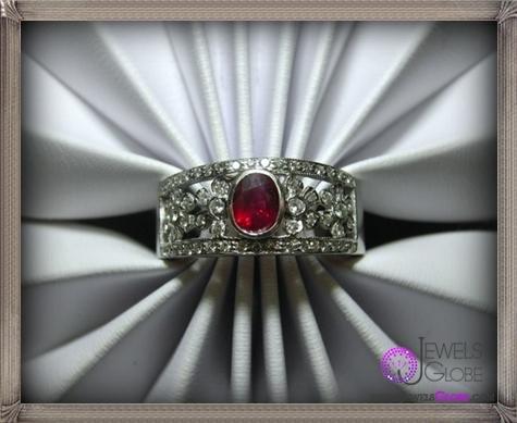 Ruby-Ring-14k-Gold-Diamonds-Flowers 32+ Most Elegant Genuine Ruby Rings For Women