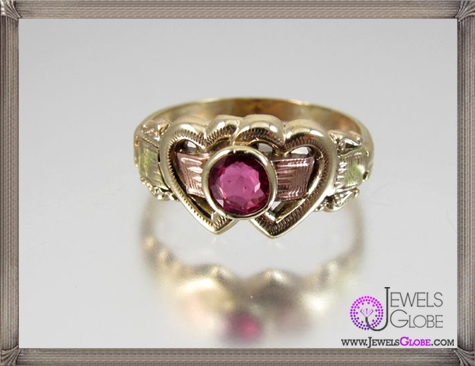 Scarce-HANDMADE-Victorian-tri-color-10K-gold-genuine-ruby 32+ Most Elegant Genuine Ruby Rings For Women