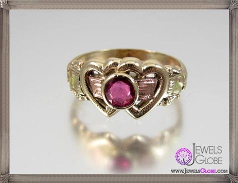 Scarce-HANDMADE-Victorian-tri-color-10K-gold-genuine-ruby 32+ Most Elegant Genuine Ruby Rings For Women