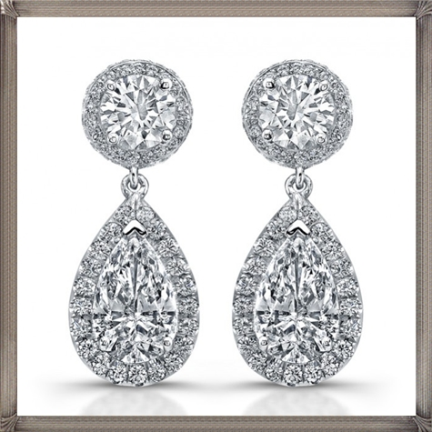 Signature-Collection-Platinum-Pear-Shaped-Diamond-Earrings Latest Signature Diamond Earrings For Women