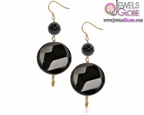 Silver-Drop-Earrings-Mishca-Jewels-London-Black-Onyx-Pearl-Gold-Plated Latest Fashion Black Diamond Earrings For Women