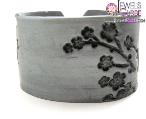 Silver-cuff-bracelet-Asian-floral-blossoms-design-handmade-cuff-bracelet 35 Hot Cuff Bracelets For Women