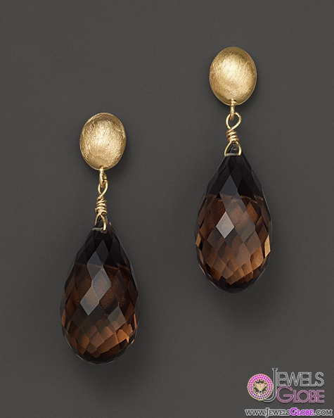 Smoky-Quartz-and-14K-Yellow-Gold-Drop-Earrings The 43 Hottest Gemstone Drop And Stud Earrings Designs for Women