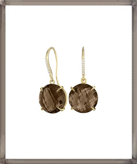Smoky-Quartz-and-Diamond-Pave-Signature-Earrings Latest Signature Diamond Earrings For Women