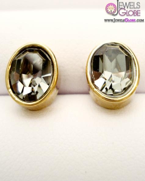 Solid-brass-Oval-Black-Diamond-Stud-Earrings-by-Skinny-Style Latest Fashion Black Diamond Earrings For Women
