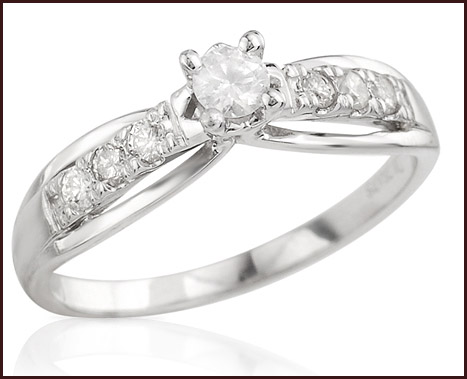 Solitaire-Plus-Ring-With-Precious-Stones-Genuine-Diamonds-Beautifully-Crafted-in-14K-White-Gold 14K White Gold Engagement Rings: Top Designs