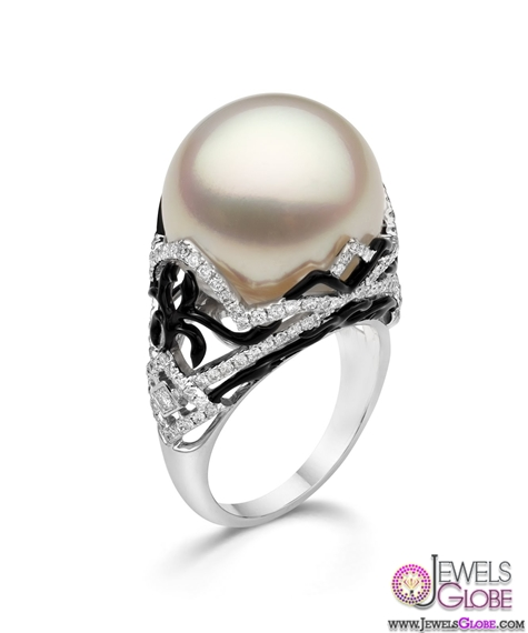 South-Seas-pearl-cocktail-ring-with-black-enamel-and-diamond-scrollwork-for-sale Top Pearl Rings For Sale