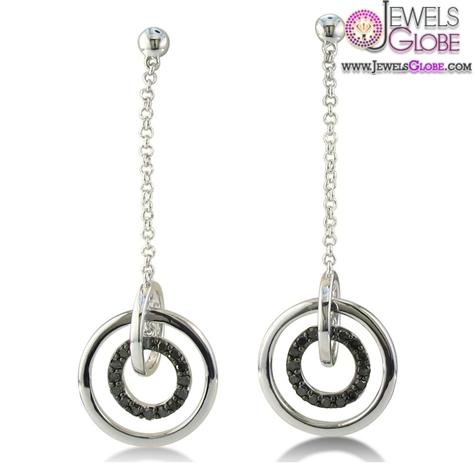 Sterling-Silver-Black-Diamond-Dangle-Earrings Latest Fashion Black Diamond Earrings For Women