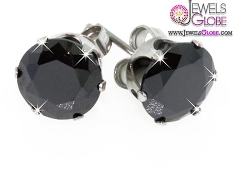 Sterling-Silver-Black-Diamond-Stud-Earrings-Designs-for-Women Latest Fashion Black Diamond Earrings For Women