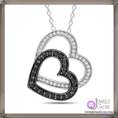 Sterling-Silver-Black-and-White-Diamond-Heart-Pendant-Necklace The 28 Best Diamond Heart Necklaces & Pendants For Women and Buying TIPS