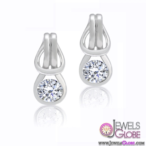 Sterling-Silver-CZ-Love-Knot-Round-Diamond-Teardrop-Earrings 12 Diamond Teardrop Earrings Hot Designs For Women