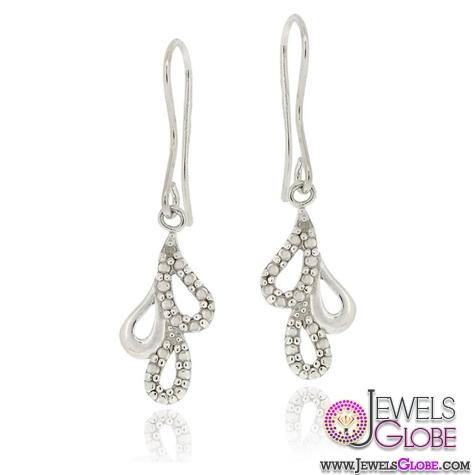 Sterling-Silver-Diamond-Accent-Teardrop-Cluster-Dangle-Earrings 12 Diamond Teardrop Earrings Hot Designs For Women