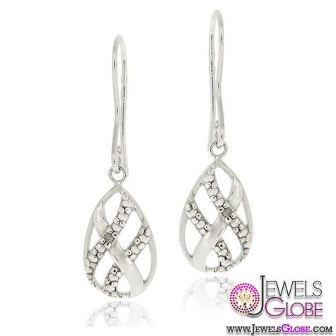 Sterling-Silver-Diamond-Accent-Woven-Teardrop-Dangle-Earrings 12 Diamond Teardrop Earrings Hot Designs For Women