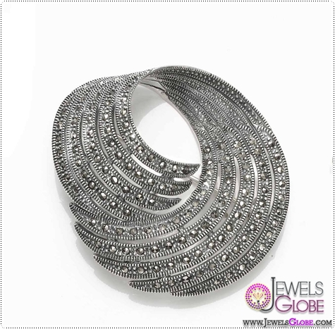 Sterling-Silver-Marcasite-Swirl-Brooch Buying Sterling Silver Brooches and Pins Online